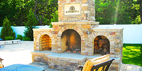 Nassau County Outdoor Fireplace Design